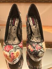 """Dollhouse Women's 9"""" High Heels Platform Shoes Floral Sequin Pumps Used Once"""
