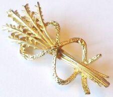 broche bijou vintage couleur or bouquet brin de blé décor ruban *4006
