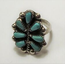 Unsigned - ZUNI - Sterling Silver Petite Point Cluster Turquoise Ring - Size 5