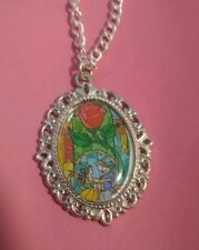 Silver Charm Necklace Pendant Disney Beauty and the Beast Belle Stained Glass