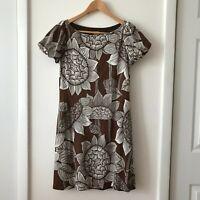 Anthropologie Eva Franco Women's Size 6 Brown Floral Wool Blend Shift Dress