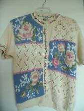VINTAGE ROBIN SINKLER YELLOW EMBROIDERED FLORAL SWEATER SIZE M