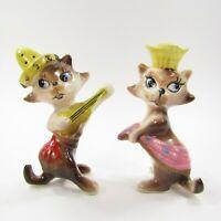 Vintage Cat Salt Pepper Shakers Set Anthropomorphic Violin Dancing Hats   INV439