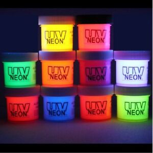 10 Neon UV Black light acrylic paint 1/2oz pots (5oz) FREE MEDIUM + UV KEYCHAIN