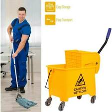 Mini 5 Gallon Mop Bucket w/Wringer Combo Commercial Rolling Cleaning Cart Yellow