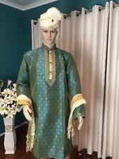 "40"" M Sherwani Suit Indian Bollywood Mens Kurtha Green Gold Outfit Kurta HL3"