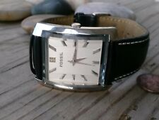 Fossil  black leather Watch New Battery day indicator working condition