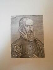 Planche gravure Moyen age Etienne de Laune Portrait d'Amboise Paré à 72 ans