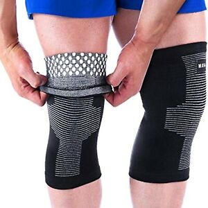 Large Reflexology Knee Support Sleeves Joint Pain Relief Pair Black Gray by MAVA