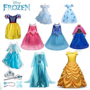Prinzessin Kleid Elsa Anna Frozen Mädchen Kinder Kostüm Eiskönigin Party Cosplay