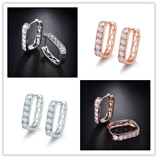 Classic Huggies Hollow Style Diamond Crystal Silver Gold Filled Women Earrings