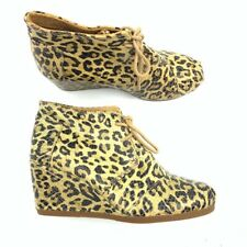 Toms Womens Ankle Boots Booties Yellow Black Leopard Wedge Heels Lace Up 6 New