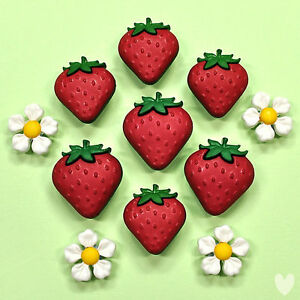 Dress it Up Buttons Fresh Strawberries 9389 - Daisy Flowers Easter Fruit