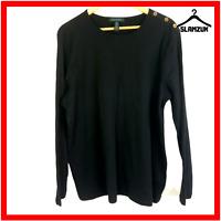 Ralph Lauren Womens Long Sleeve T shirt Big Tall 3X Jersey Crew Neck Tee Black