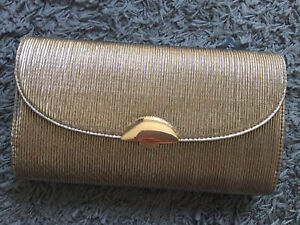 Ladies M&Co Champagne Gold Metallic Clutch Hand Bag With Strap BNWT