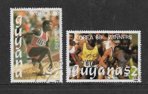 GUYANA POSTAL ISSUE 1989 SET 2 USED $2 COMMEMORATIVE STAMPS OLYMPICS SEOUL 1988