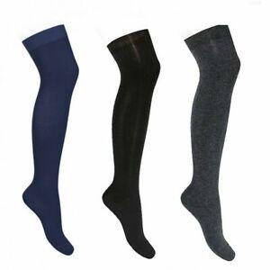 Girls Over knee Plain Stretchy White Grey or Navy Back To School Winter socks