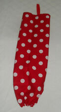 Red with White Polka dots Design Homemade Fabric Plastic Grocery Bag Holder