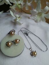 Auth SOUTH SEA PEARL Earrings Ring & Pendant Set in Micron Setting S6.5 ON SALE