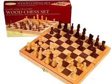 "CHESS SET WOOD 10.5"" INLAID Family Board Game Birthday Gift CLEARANCE SALE"
