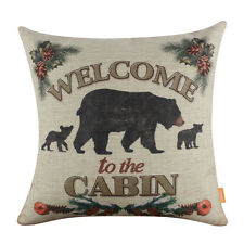 45*45cm Welcome to the Cabin Black Bear Linen Cushion Cover Throw Pillow Case