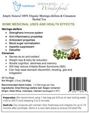 Simply Natural 100% Organic Moringa oleifera Cinnamon Herbal Tea (30 Tea Bags)