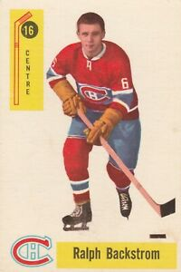 1958-59 PARKHURST #16 RALPH BACKSTROM ROOKIE CARD, CANADIENS