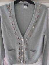 J.Crew Sweater-V Neck Cardigan-Embellishments- Alpaca/Wool- Gray/Green -Size XL