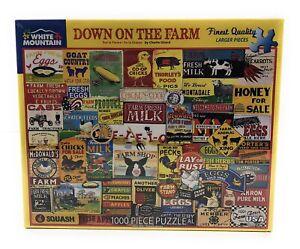 Down on the Farm Animals White Mountain 1000 Piece Jigsaw Puzzle Charlie Girard