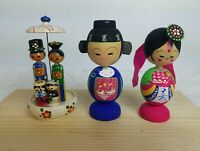Vintage Korean traditional hand carved wood Figurine Couples and Family  3.5''T