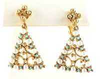 Florenza Clip On Earrings Triangle Scroll Gold Tone Faux Pearl Turquoise Vtg