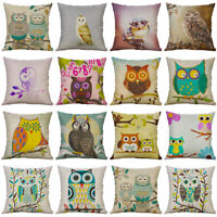 "18"" Cartoon Owl Pinrting Cotton Linen Pillow Case Cushion Cover Sofa Home Decor"