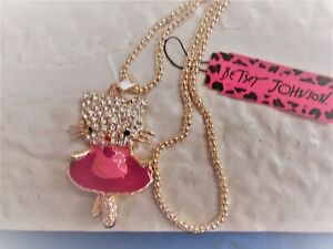 betsey johnson frosted rose gold with pink kitty necklace..
