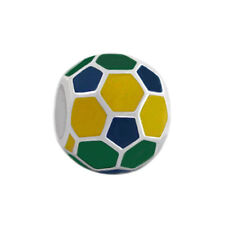 Brazil Flag Color Soccer Ball 925 Sterling Silver Bead Sports Charm BS1416