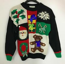 High Gate Petite Ugly Christmas Sweater Gifts Bows Teddy Bear Santa Size P/M