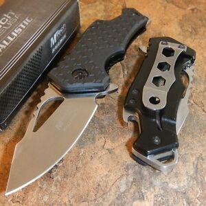 MTECH BLACK SILVER Spring Assisted BOTTLE OPENER Folding Pocket Knife Blade NEW!