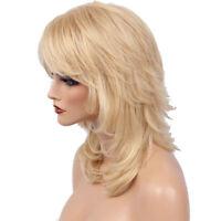 Femmes Longue Culry Wavy Perruque Blonde, Réel Cheveux Humains Frange
