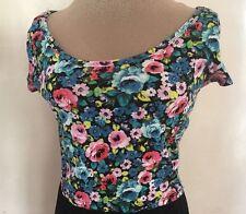 Wet Seal Jr L Crop Top  Bright Floral Print Stretch Blouse Shirt Cute