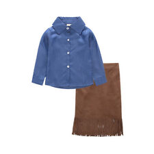 Tassels Denim Blouse Girls Suit - Blue (XYG062629BU)