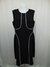 Alfani Plus Size Sleeveless Piped A-Line Dress 20W Deep Black, White #3976