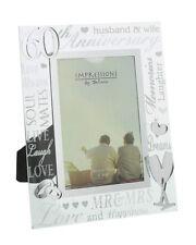 "60th Diamond Wedding Anniversary Gift Mirror 3D Words Glass Photo Frame 4x6"""