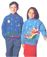 Children's DK Christmas Sweaters Teddy Santa & Christmas Trees Knitting Pattern