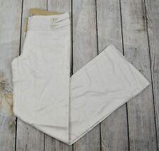 Paris Blues Women's Shimmer Coated Wide Leg Pants Jeans Low Rise White Medium M