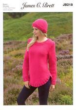 James Brett JB218 Knitting Pattern Ladies Sweater and Hat in Amazon Super Chunky