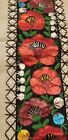 """Vintage Embroidered Crewel ? TABLE RUNNER Floral 36.5 x 12"""" Flowers"""