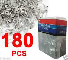 180 Pcs Nickel Plated Steel Sewing Crafting Beading Jewelry Safety Pins Size 2