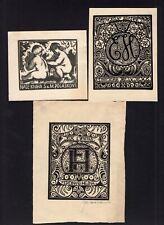 39)Nr.179-EXLIBRIS,Josef Hodek,  Konvolut 3 Blätter