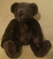 """Authentic 16"""" Vermont Teddy Bear Plush Jointed Dark Chocolate Brown / Black"""