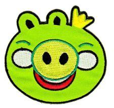 bf61 Schwein Grün Comic Aufnäher Kinder Patch Bügelbild Applikation 7,4 x 7,0 cm