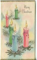 VINTAGE CHRISTMAS SILVER GOLD ILLUMINATED PINK BLUE GREEN CANDLES GREETING CARD